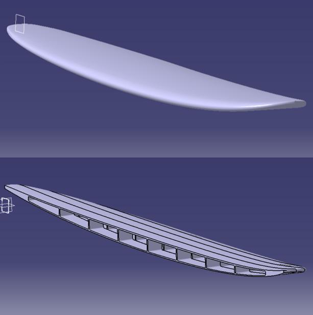 prototype 3D planche surf en bois